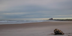 Bamburgh Castle from Ross Sands (Stupotpot) Tags: sea england beach unitedkingdom gb bamburghcastle