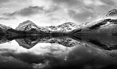 Buttermere mono dawn (alf.branch) Tags: blackandwhite bw panorama lake reflection landscape mono lakes lakedistrict olympus cumbria zuiko buttermere lakesdistrict refelections calmwater westcumbria westernlakes panoramicstitch cumbrialakedistrict olympusomdem1 zuiko1240mmf28pro