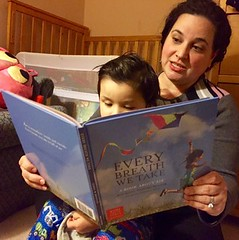 North Carolina field organizer, Veronica Shingleton reads to her son.