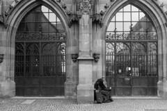 Who's out there? (frescographic) Tags: street city blackandwhite woman money reflection church window dom frankfurt rich poor citylife streetphotography kirche beggar schwarzweiss mainhatten bettler nikon1