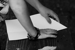 Paper Plane Making (jaciskelton) Tags: sky blackandwhite make paper paperplane