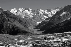 Trekker on his own.. (draskd) Tags: bw snow monochrome trekking nikon glacier trail valley range himalayas highmountains nikondslr lahaul d7100 mountaintreks