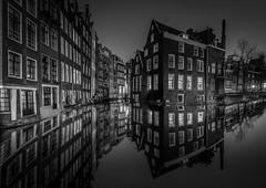Canals of Amsterdam (mcalma68) Tags: longexposure nightphotography monochrome reflections blackwhite canalsamsterdam