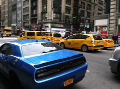 'Lectric Blue and Yellow Hue (Vintage car nut) Tags: nyc cars traffic taxis dodge avenue challenger fifth