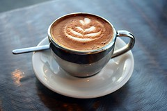 Cortado, Steelhead Coffee Company (jjldickinson) Tags: nikon1855mmf3556gvriiafsdxnikkor promaster52mmdigitalhdprotectionfilter nikond3300 104d3300 californiaheights steelheadcoffeecompany coffeehouse coffee espresso cortado latteart tulip cup demitasse saucer spoon longbeach