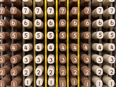 By the Numbers (Joanne Dale) Tags: brown white yellow vintage keys pattern order columns numbers rows math iphone accounting bookkeeping calculating addingmachine comptometer joannedale