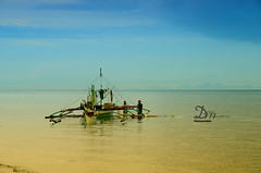 Only in Iloilo, Philippines. (danmocs) Tags: blue vacation sky net beach work island boat fisherman pacific outdoor iloilo