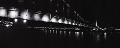 Moscow bridge with Zenit-Horizon (nervouskid.alex) Tags: city bridge blackandwhite bw black film night blackwhite russia moscow bridges zenit  horizont zenith   panoranic