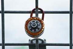 Riverbank Keepsake Locks 4 of 5 (Orbmiser) Tags: oregon fence portland spring nikon lock riverbank willametteriver keepsakes padlocks d90 eastsideesplanade 55200vr