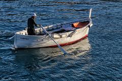 The Oarsman... (LouisAnnImage - The Photography of Howard Brown) Tags: ocean santa sea italy water boat fishing fisherman italian riviera genoa oar margherita the oarsman ligure