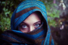 Portrait - color version (isa.gallino) Tags: blue portrait woman girl scarf student eyes young