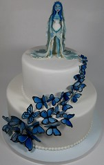 Corpse Bride (Edible Delights) Tags: blue wedding cake emily butterflies tier timburton corpsebride fondant gumpaste