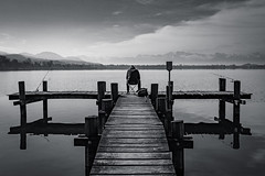 Fishing (benedikt.t) Tags: lake water switzerland blackwhite fishing