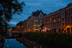 Morning in the city (Maria Eklind) Tags: street city bridge light sky water reflections se skne europe sweden outdoor sverige malm streetview buidlings citylight skneln sdertull