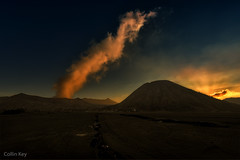 smoke signal (Collin Key) Tags: sunset mountains indonesia landscape volcano java desert dusk idn mountbromo seaofsand smokecloud tenggercaldera mountbatok