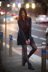 Najwa (aminefassi) Tags: street portrait people beauty leather fashion rock night lights bokeh outdoor retrato morocco maroc casablanca mode 135mm blackdress  135mmf2l  aminefassi najwasabbar
