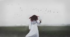 The Sleepwalker (KaiaPieters) Tags: mist girl field birds misty fog candles sleep hazy redhair sleepwalking whitedress fogy