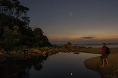 Seeking Venus (OzzRod) Tags: sky reflection beach sunrise stars dawn venus pentax lagoon k5 smcpentaxda21mmf32limited astrometrydotnet:status=failed barraggabay astrometrydotnet:id=nova1401962