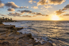 Land And Sea (Eddie Yerkish) Tags: ocean california sunset sea sky sun seascape beach water pool clouds landscape coast sand nikon rocks waves sandiego horizon lajolla shore land childrens d7200