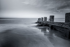 2016 Porty Beach B&W (arranmoffat) Tags: uk winter sea bw beach water scotland frames edinburgh long exposure wide portobello weekly milky 52 groynes 2016 porty 52frames