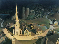 Grant Wood — The Midnight Ride of Paul Revere, 1931. Painting: Oil on masonite, 30 x 40 in. Metropolitan Museum of Art, New York.  Here, Wood depicts the legendary story of the American patriot Paul Revere, as learned from an 1863 poem by Henry Wadsworth (ArtAppreciated) Tags: wood horse art history modern century america painting paul 1930s ride darkness grant fineart blogs american artists midnight americana patriotism revere 20th primitivism metmuseum artblogs regionalism murica tumblr artoftheday artofdarkness muricuh artappreciated artofdarknessco artofdarknessblog date1931