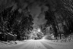 Wintry street (Antti Tassberg) Tags: road street city longexposure winter urban blackandwhite bw monochrome night dark prime lowlight cityscape nightscape tie fisheye talvi 15mm yö kaupunki katu laaksolahti