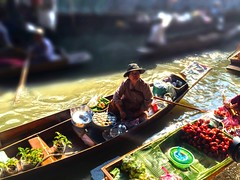 Floating market. (MIREILLE) Tags: woman fruit river thailand boat canal market floating hdr damnoen