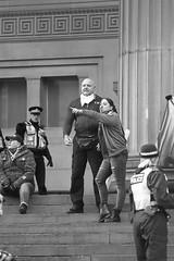 Untitled (the underlord) Tags: street slr film liverpool protest streetphotography police anger nikonf100 demonstration vehicle streetphoto van limestreet antifascist merseyside stgeorgeshall ilfordfp4 kodakd76 nikkor80mmf4ais