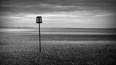 the last patrol (vfrgk) Tags: blackandwhite bw seascape abstract water monochrome skyline sand solitude loneliness mud minimal serenity serene lowtide minimalism atmospheric cloudysky vastness seclusion windpark