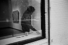 Reflective Paiting (CsMusick) Tags: street new leica york nyc white snow black reflection art film 35mm photography mirror chelsea manhattan m3 paiting gallary summaron pait