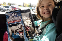 Rose's New Toy (Vegan Butterfly) Tags: world cute smile smiling toy happy robot kid vegan child dinosaur adorable rex edition jurassic zoomer indominus
