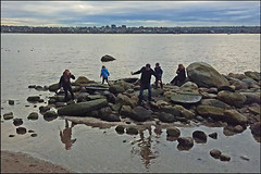 Stranded by a Rising Tide... (HereInVancouver) Tags: ocean family canada vancouver rocks bc candid englishbay stanleypark wetfeet mobilephonephotography samsunggalaxys6