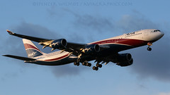 Arik Air A340-500. (spencer_wilmot) Tags: london plane airplane evening heathrow aircraft aviation jet airbus arrival approach airliner ara lhr eveninglight widebody jetliner w3 egll hifly a340500 arikair cstfw