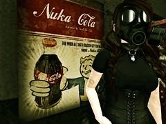 Fallout (Enigma Rae) Tags: game fall me self out fun bottle comic mask cola caps apocalypse enigma gas fallout apoc nuka flite