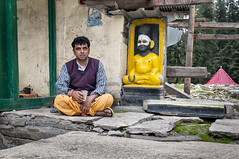 Time For Tea with the Gods and the Godsman at Giriganga, India (Anoop Negi) Tags: portrait india temple photography photo hp god yogi priest local juxtaposition anoop baba himachal himalayas rama ganga khara durga pradesh negi giri yamuna tributary patthar ezee123 giriganga kotkhai
