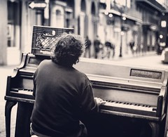 piano man (M_K_A) Tags: blackandwhite music sepia canon louisiana south neworleans streetphotography cajun rebelxsi