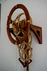 Simplicity by Dave Bunce 2 (dorkyquilts) Tags: clock robot gears woodworking kineticsculpture woodengears woodengearclocks