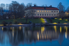 Edsbergs Slott North of Stockholm (Stefan Sjogren) Tags: park bridge blue trees sky house lake green castle grass garden dark way bay twilight sweden stockholm palace sollentuna lakefront architectire hggvik edsberg