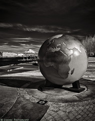 Globe and Mt Rainier (mjardeen) Tags: boss blackandwhite bw white black texture nature grass clouds contrast landscape washington globe thea pattern shadows outdoor sony 28mm bricks infrared wa f2 tacoma fe mtrainier waterway 282 landscapesshotinportraitformat 720nmconversion tonalitypro