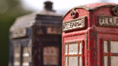 Telephone (mitchell_dawn) Tags: red 2 two macro vintage toy toys miniature fifties antique pair telephone police 1950s 50s policebox telephonebox callbox dinky diecast telephonekiosk nineteenfifties macromondays