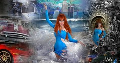 dancing with the storm. Time traveler Sofia Goldberg (Sofia Metal Queen) Tags: city blue storm cute sexy girl beautiful beauty car fashion star design goldberg losangeles costume cool fantastic model dress flood time sofia awesome wave super queen tsunami fantasy future dreams scifi sciencefiction paranormal diva immortal ability futurist photomodel redhaired