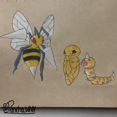 Weedle Evolution (poncho_wnh) Tags: art drawing coloring pokemon weedle kakuna beedrill pokemon20 all151