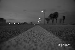 Sunset... night. (Akijos) Tags: road street light sunset bw nikon bn line tokina biancoenero lightbokeh d7000 atx116