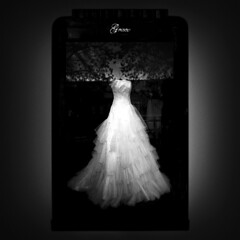 """Grace"" (helmet13) Tags: bw window promotion poster shopwindow windowshopping weddinggown windowreflection aoi peaceaward heartaward iphone6s"