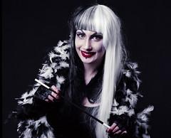Cruella 8 (AberrationObscura) Tags: portrait film mediumformat studio drag model kodak dressup disney 120film fantasy 100 villain deville props cruel cruella ektar rb67 mamiyarb67 filmphotography