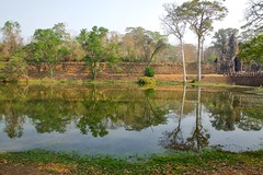 Moat next to the Southern Gate of the ancient city of Angkor Thom near Siem Reap, Cambodia (UweBKK ( 77 on )) Tags: city trees history water reflections ancient gate asia cambodia kambodscha sony south southern siem reap thom historical southeast alpha dslr angkor moat 77 slt