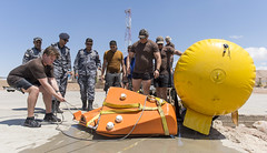 Sailors and members of the Royal Jordanian Navy train using airbags to beach inert mine like objects during (IMCMEX) 16. (Official U.S. Navy Imagery) Tags: navy jo jordan eod expeditionary ctf56 imcmex