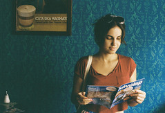 Lor (Moesko Photography) Tags: blue red summer portrait coffee caf girl smile wall romania analogue oradea werra1
