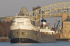 saginaw, st. marys river (twurdemann) Tags: morning classic water boat spring unitedstates michigan laker saultstemarie bulkcarrier soolocks saginaw internationalbridge stmarysriver heatshimmer selfunloader bulkfreighter downbound lowerlakestowing nikon500mmf4vr nikond300s classiclaker americansaultlocks stmarysfallscanal 500mmafsvrnikkor