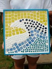 ALC student artwork: mosaic wave (Sarabbit) Tags: camp art glass work wooden student child graphic bright handmade mosaic wave frame camper alc handbuilt